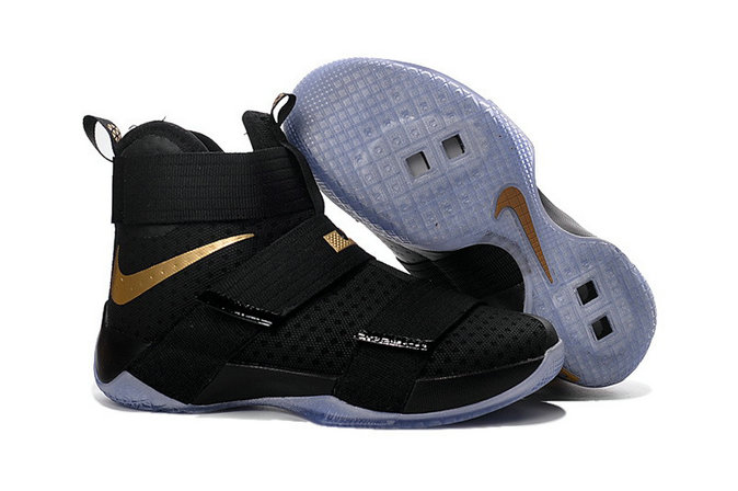 Cheap Wholesale Nike Lebron Soldier 10 Kids Black Gold