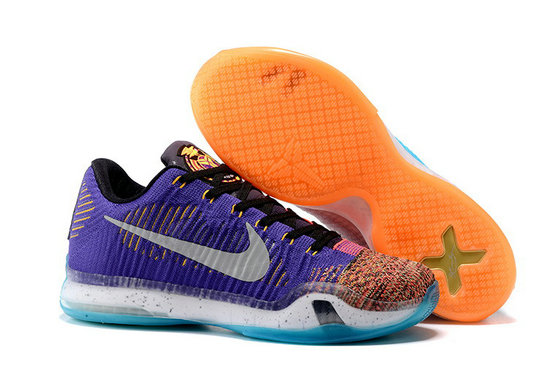 Cheap Wholesale NikeKobe 10 Flyknit Blue Purple Orange Pink