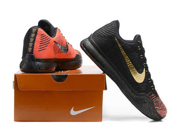 Cheap Wholesale NikeKobe 10 Flyknit Gold Black Orange