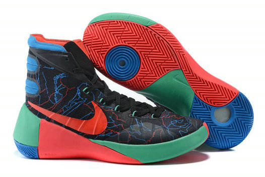 Cheap Wholesale Nike Hyperdunk 2015 Black Bright Crimson Green Blue