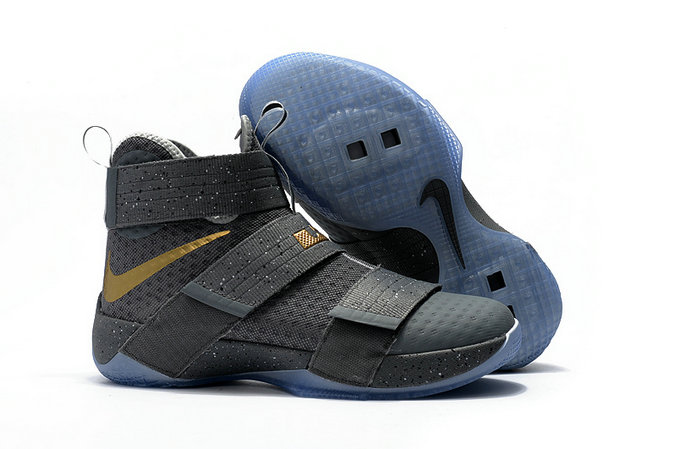Cheap Wholesale NikeLebronSoldier 10 Gold Light Blue Dark Grey