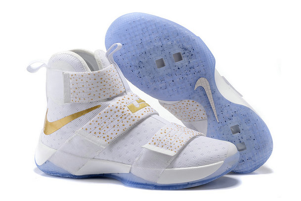 Cheap Wholesale NikeLebronSoldier 10 Gold White Blue