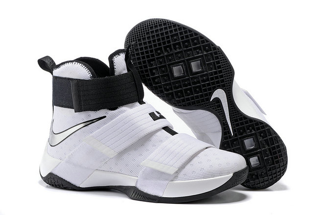 Cheap Wholesale NikeLebronSoldier 10 White Black Silver
