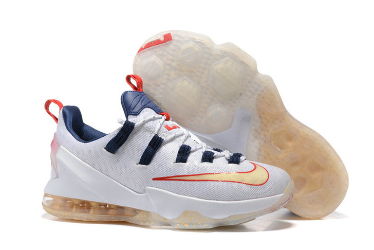 Cheap Wholesale NikeLebronJames 13 Low Gold White Red Navy Blue