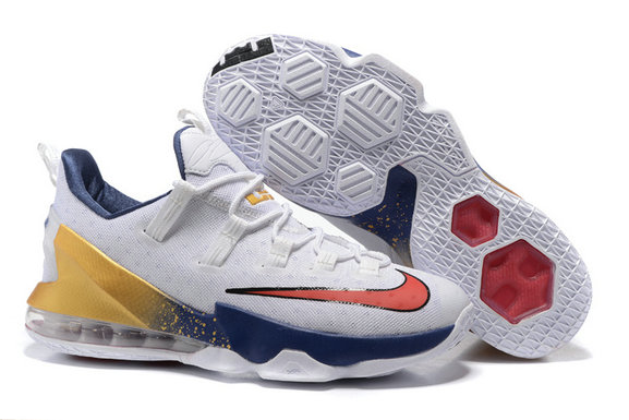 Cheap Wholesale NikeLebronJames 13 Low White Yellow Red Blue