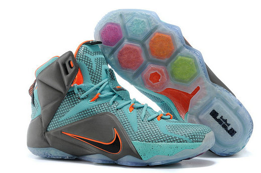 Cheap Wholesale Lebron 12 Women Grey Green Orange