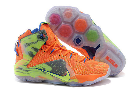 Cheap Wholesale Lebron 12 Women Orange Green Blue