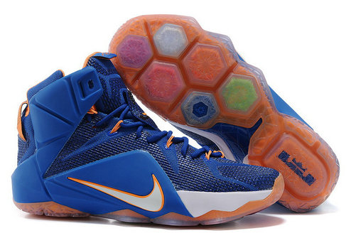 Cheap Wholesale Lebron 12 Women Royal Blue White Orange