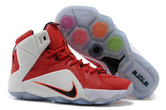 Cheap Wholesale Lebron 12 Women White Red Black Orange