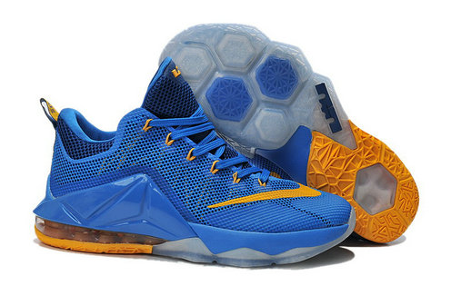 Cheap Wholesale Lebron 12 Low Shoes Blue Yellow