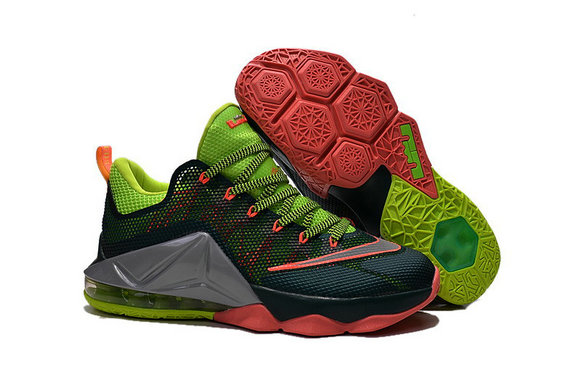 Cheap Wholesale Lebron 12 Low Shoes Green Grey Red Orange