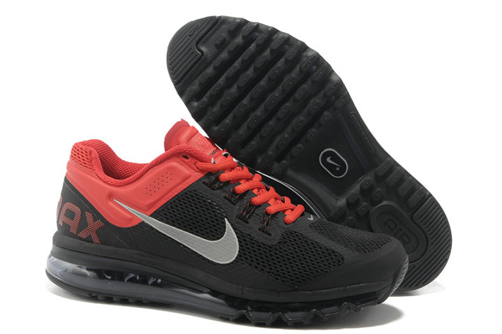 Nike Air Max 2013 Mens Running Shoe Black Silver Red
