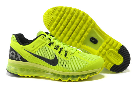Nike Air Max 2013 Mens Running Shoe Fluorescence Green Black