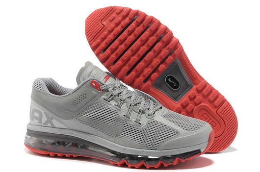 Nike Air Max 2013 Mens Running Shoe Silver Red