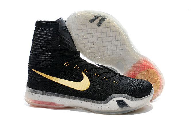 Cheap Wholesale Kobe 10 Elite High Top Black Gold