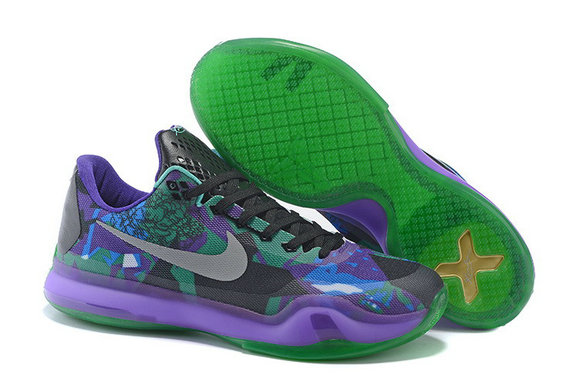 Cheap Wholesale Nike Zoom Kobe 10 X Green Purple Grey Black