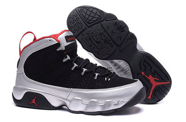 Cheap Wholesale Air Jordan 9 Women Silver Black Red