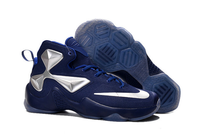 Cheap Wholesale Lebron 13 Navy Blue Silver For Kids