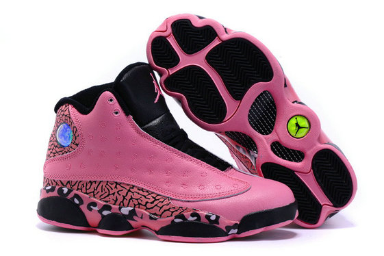 2015 Cheap Wholesale Women Air Jordan 13 Pink Black White
