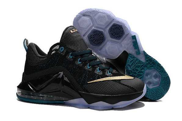 Cheap Wholesale Nike Lebron 12 Low Gold Black Grey Blue
