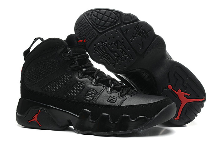 Girls Cheap Wholesale Air Jordan 9 Retro GS Black Dark Charcoal-Varsity Red For Sale
