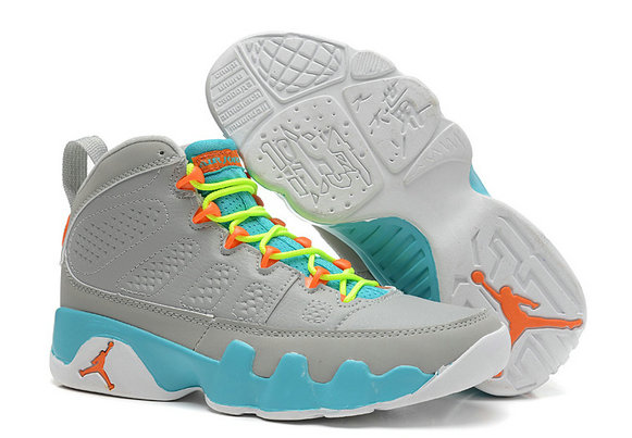 Girls Cheap Wholesale Air Jordan 9 Retro GS Wolf Grey Neon Orange-Mint Candy For Sale