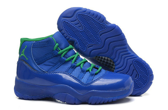 Girls Cheap Wholesale Air Jordan 11 Retro GS Blue Green Online For Sale Womens Size