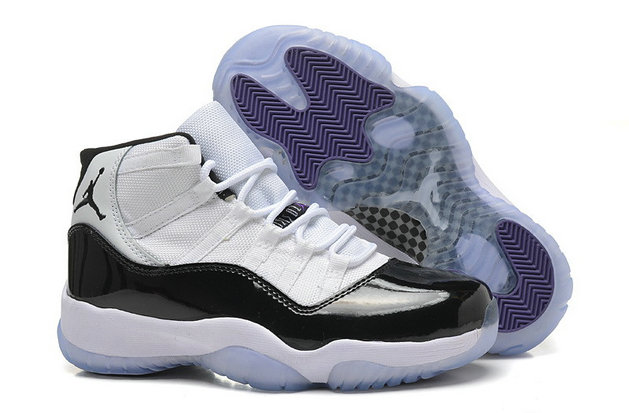 Girls Cheap Wholesale Air Jordan 11 Retro GS White Black-Dark Concord For Sale Womens Size