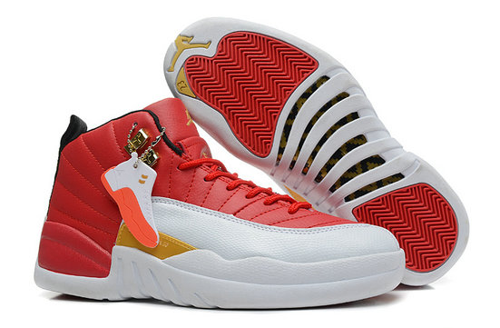 Girls Cheap Wholesale Air Jordan 12 GS White Red Gold For Womens Cheap Wholesale For Sale