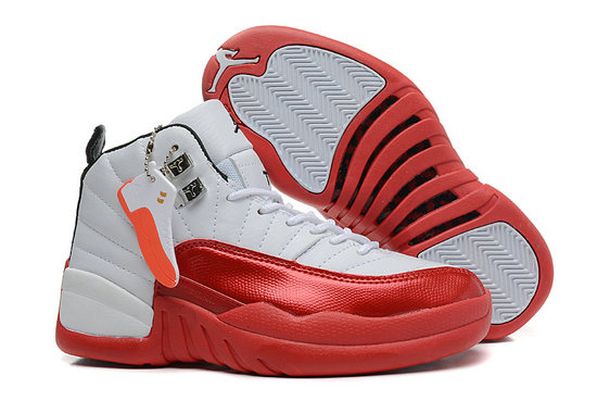 Girls Cheap Wholesale Air Jordan 12 GS White Red For Womens Onlline For Sale