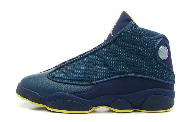 Cheap Wholesale Air Jordan 13 Retro Squadron Blue Electric Yellow-Black For Sale Online