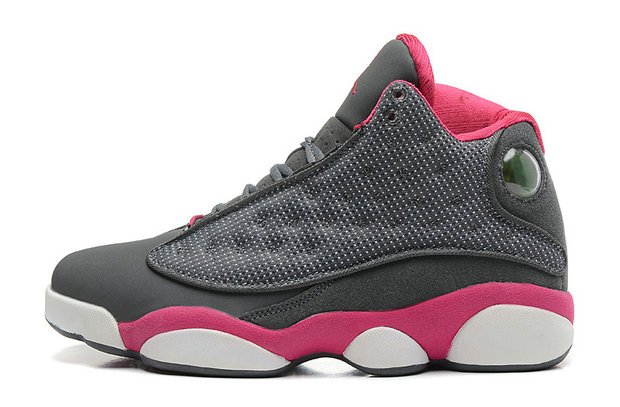 Girls Cheap Wholesale Air Jordan 13 Retro GS Cool Grey Fusion Pink-White For Sale Online