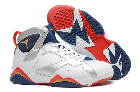 Cheap Wholesale Air Jordan 7 White Metallic Gold-Midnight Navy True Red For Sale