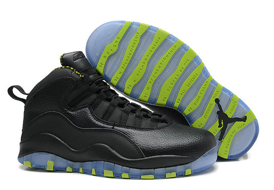 Cheap Wholesale Air Jordan 10 (X) Retro Black Cool Grey-Anthracite-Venom Green For Sale