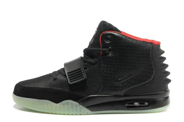 Nike Air Yeezy 2 Black Solar Red Glow in the Dark For Sale Online