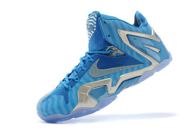 New Nike LeBron 11 Elite Reflective Stripes 3M Unreleased Blue Silver For Sale
