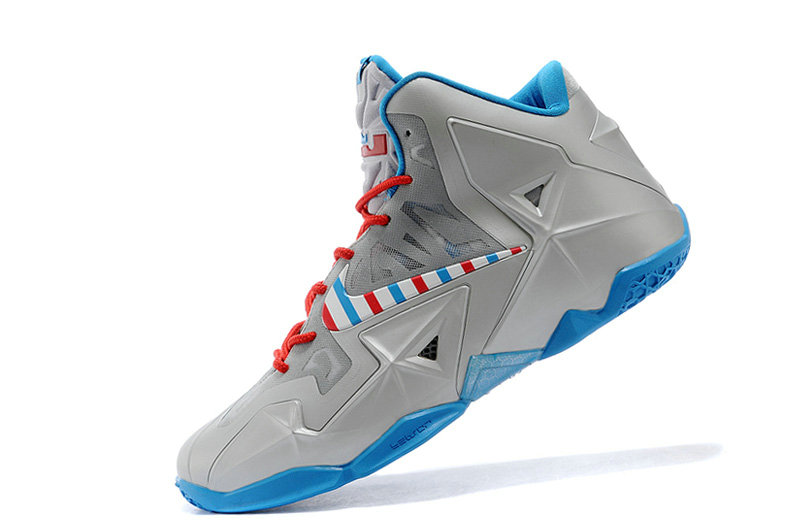 Nike LeBron 11 Barber Metallic Silver White-Turquoise Blue-Laser Crimson Mens Sale