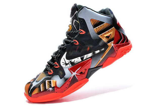 Nike LeBron 11 Mark 6 Ironman Customs Black Red Gold For Sale