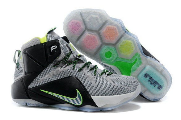 Cheap Wholesale Nike LeBron 12 Dunk Force Dark Magnet Grey Magnet Grey-Electric Green For Sale
