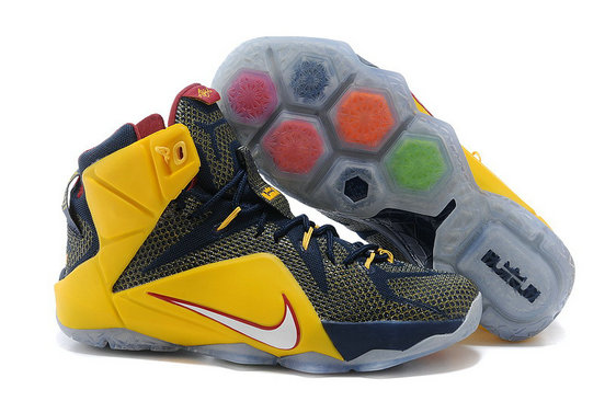 Cheap Wholesale Nike LeBron 12 Navy Yellow Red For Sale