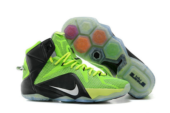 Cheap Wholesale Nike LeBron 12 Neon Green Black-Silver For Sale Online