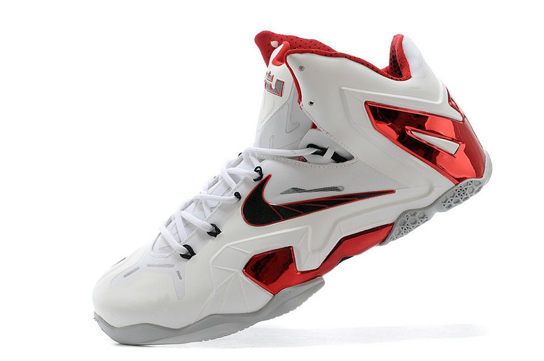 New Nike LeBron 11 Elite Home PE White-Red Wolf Grey For Sale