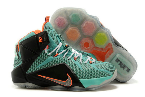 Cheap Wholesale Nike LeBron 12 Turquoise Black-Total Orange Cheap Wholesale For Sale