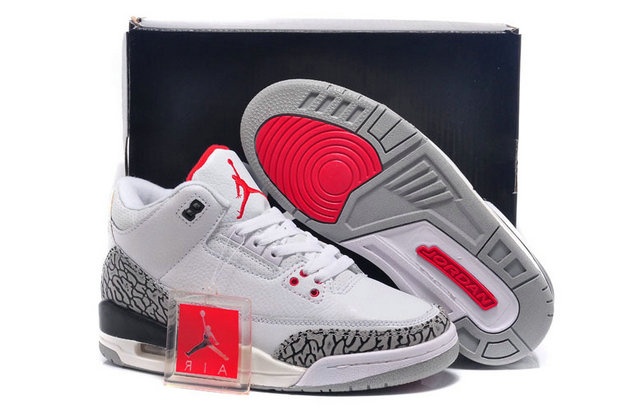 For Sale Cheap Wholesale Air Jordan 3 (III) Retro White Fire Red-Cement Grey-Black 2011 Online