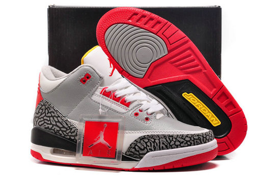 For Sale Cheap Wholesale Air Jordan 3 GS Retro Wolf Grey-Sport Red Black Cement-White For Womens