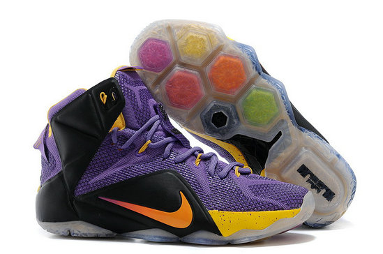 Cheap Wholesale Nike LeBron 12 Purple Black-Yellow For Sale Online
