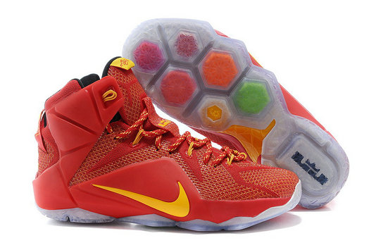 Cheap Wholesale Nike LeBron 12 Red Gold For Sale