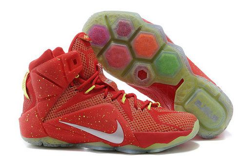 Cheap Wholesale Nike LeBron 12 Red Volt Silver For Sale