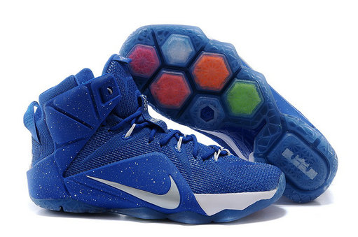 Cheap Wholesale Nike LeBron 12 Royal Blue White-Silver For Sale