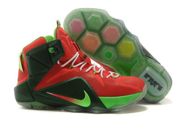 Cheap Wholesale Nike LeBron 12 Sport Red Mystic Green-Lucky Green-White For Sale
